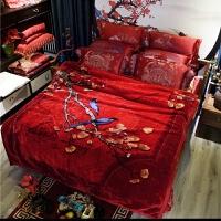 双层加厚超柔婚庆毛毯喜被子10斤大红色冬季保暖云毯陪嫁双人盖毯