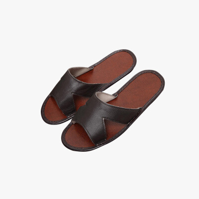 当当优品 真皮牛皮拖鞋 时尚镂空设计 防滑牛筋底 保护地板拖鞋 居家休闲T1670(多色可选)