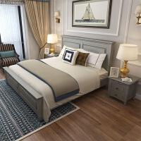 轻奢新古典美式床实木床灰银灰色双人床现代简约美式家具