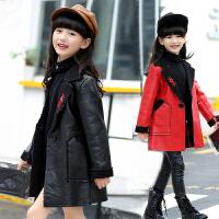 女童皮衣夹克加绒加厚黑色中长款儿童秋装中大童女孩PU皮外套潮 红色