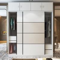 整体组装现代黑白色条纹大衣柜推拉移门衣橱定制定做家具 2门