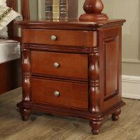 御品工匠全实木床头柜特价床头柜美式欧式卧室储物柜斗柜美式家具