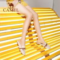 camel骆驼女鞋 2019春季新品英伦休闲穆勒鞋 低跟舒适蝴蝶结包头拖鞋女