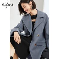 伊芙丽毛呢外套2020冬季韩版双排扣中长款保暖气质羊毛大衣女