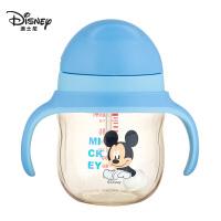迪士尼PPSU婴儿童吸管式学饮杯鸭嘴杯喝水杯子带手柄奶瓶大宝宝