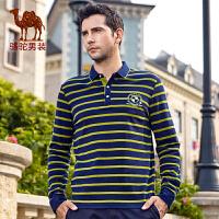 骆驼男装 秋季新款时尚商务休闲条纹纯棉长袖T恤衫男衬衫领T
