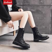Coolmuch女士高帮厚底耐磨防滑马丁鞋百搭纯色中筒机车靴休闲工装靴YG6672