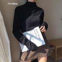 自制2018春季新款韩版纯色简约长袖百搭半高领紧身打底衫女 黑色 均码