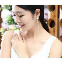 耳钉 女  不对称 花朵流苏 耳环 韩版  耳钉女 时尚气质饰品 个性 无耳洞0耳夹