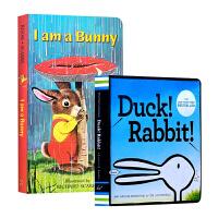 【中商原版】I Am a Bunny我是一只兔子 Duck! Rabbit! 原版纸板书2册 吴敏兰
