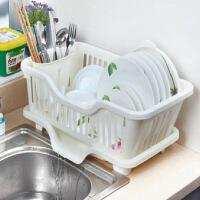 厨房置物架 塑料加厚滴水碗碟收纳架 滤水沥水碗碟架 沥碗架放盘用品收纳盒置物架滴水碗架(正面漏水)白色