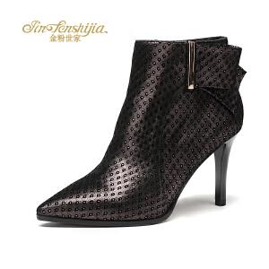 金粉世家 红蜻蜓旗下 秋冬新款女士女靴羊皮高跟尖头细跟短靴女鞋
