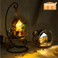 创意diy小屋浪漫爱琴海玻璃球diy 迷你 小屋拼装房子玩具手工房