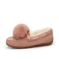 camel骆驼女鞋冬季新款时尚俏皮毛球低跟单鞋休闲保暖豆豆鞋