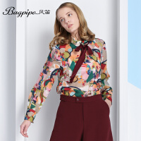 BAGPIPE/风笛2017新款春季女士 印花雪纺衫欧美打底衫长袖衬衫潮