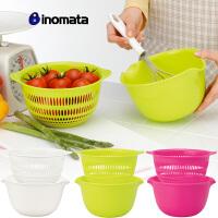 日本进口 厨房塑料水果碗 果蔬篮 水果沙拉碗 迷你洗菜盆