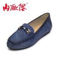 内联升时尚休闲舒适透气妈妈鞋女单鞋女式牛仔布休闲鞋6185C