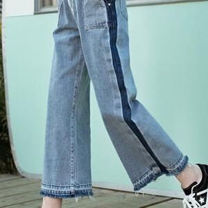 PASS2018新款夏装直筒牛仔裤女宽松侧条纹拼接复古百搭超火裤子潮