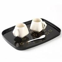 日式木质托盘家用长方形水杯托盘茶盘日式塑料密胺茶水盘拖盘酒店客房椭圆形