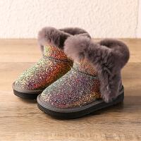 女童雪地靴2018新款冬季加绒儿童亮片棉靴公主鞋短靴子宝宝冬鞋潮