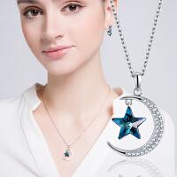 采用施华洛世奇元素 星星项链女配饰 简约大方纯925银吊坠锁骨链