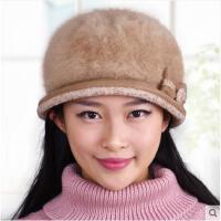 女秋冬毛线帽贝雷帽冬天加厚保暖针织帽韩版潮时尚兔毛帽加绒