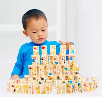 米米智玩 盒装100片识字多米诺骨牌积木木制拼音识字多米诺儿童