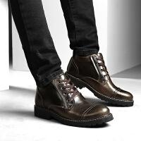 DAZED CONFUSED冬季新款高帮皮鞋男英伦马丁靴男士棉鞋保暖商务高邦复古短靴