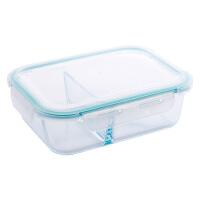 玻璃保鲜碗上班族分隔饭盒微波炉加厚便当盒冰箱长方形盒带盖碗