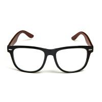2018新款木制眼框架太阳镜镀膜竹眼镜框木质复古镜木腿眼镜文艺学生全框小清新韩版无度数平光镜 亮黑