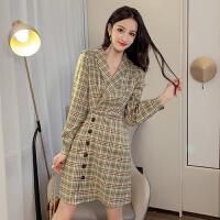 连衣裙 女士POLO领网红格子长袖连衣裙2020年冬季新款韩版时尚潮流女式修身洋气女装A字裙