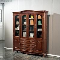 全实木书柜黑胡桃木 美式乡村原木书橱234门书房书架套房欧式家具