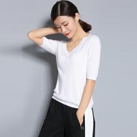 2018女士新款纯羊绒衫针织T恤纯色背心打底衫套头V领修身短袖毛衣