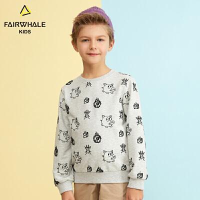 【1件5折折后价119.4】马克华菲童装男童卫衣2019春新款卡通猪圆领长袖上衣儿童韩版洋气