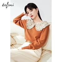 伊芙丽泡泡袖针织衫女2021春季韩版碎花拼接领内搭假两件上衣