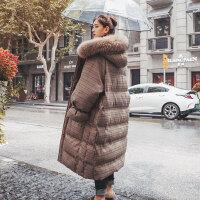 大毛领过膝加厚格子面包服羽绒女中长款2018冬季新款学生棉衣 图片色