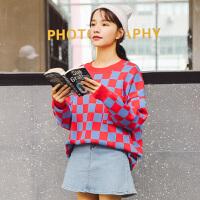 针织衫 女士圆领撞色格子蝙蝠袖针织衫2020年秋季新款韩版学院风女式清新甜美女装套头衫