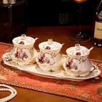 创意欧式调味罐欧式陶瓷调味罐套装调味盐罐调料罐调味瓶罐调味盒三件套瓷托 女皇玫瑰调味罐