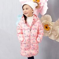 OSA欧莎童装2017冬季新品女童中长款印花连帽鸭绒羽绒服儿童外套