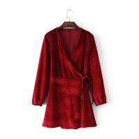 女装秋季新款韩国修身系带交叉V领天鹅绒连衣裙气质短裙