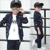 男童春秋款时尚套装儿童棒球领休闲运动服中童学生韩版潮流三件套 藏青色横条款 长袖T+外套+长裤