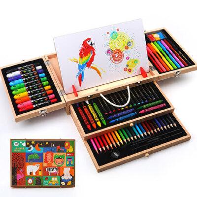 美乐儿童绘画套装工具宝宝礼物蜡笔水彩笔画画文具礼盒美术用品 品牌直营 高档绘画礼盒 *精选