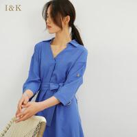【秒杀价:59元】爱客纯色衬衫裙2019春夏 文艺中长款收腰