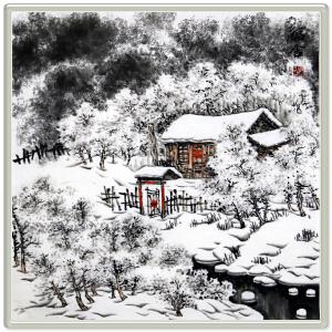《福舍》高忠明R5327 手绘山水冰雪画