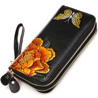 女士钱包长款2018款韩版多功能手抓包气质皮皮雕牡丹钱夹手包