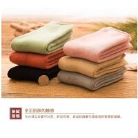 冬季时尚加绒加厚袜子女中筒袜韩版保暖纯色棉袜睡眠袜长袜冬款毛袜子