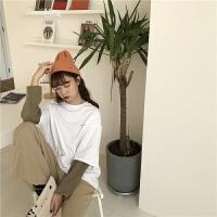 韩国学院风百搭假两件撞色圆领字母T恤女宽松长袖套头上衣潮 白色 均码