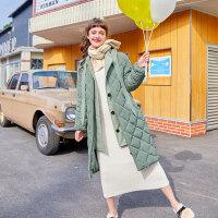 毛菇小象中长款过膝女新款时尚个性外套冬季连帽加厚保暖棉衣