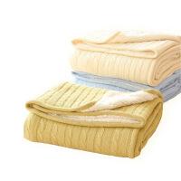 【官方旗舰店】在耳边 全棉针织毛线+羊羔绒复合毯 冬季保暖毛毯盖毯 毛绒毯子 150cmx200cm