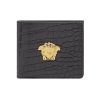 VERSACE 范思哲 新款男士黑色美杜莎金属头像鳄鱼纹皮革钱包DPU2463 DCOV4 D41OH